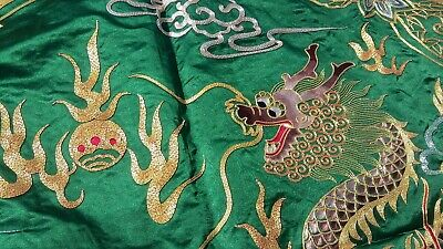 Chinese Hand Embroidered Tablecloth Metallic Thread Silver Gold GOLDEN CLOUD