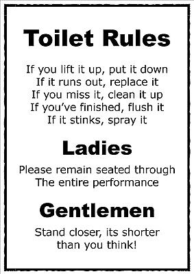 TOILET RULES POSTER A4 Print Laminated