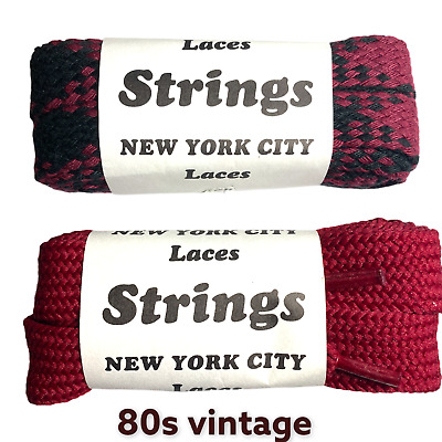 45 inch` New from 80s Vintage Shoe Laces  Fat Flat 2 pair Shoelaces Cotton