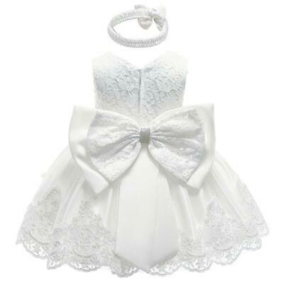 Camila Lace Ivory Baby Girls Dress & Headband Formal Outfit Christening Wedding