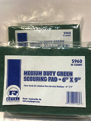 """Royal Green 6"""" x 9"""" Medium Duty Scouring Cleaning Pads, Pk of 20, S960 Free Ship"""