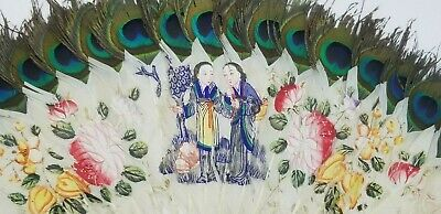 Antique c.1890 Figures & Flowers Hand painted Asian Chinese Feather & Bone Fan