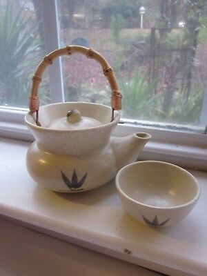 Oriental Teapot & Cup Tea for One Stoneware Bamboo Handle Beige w Blue Leaves