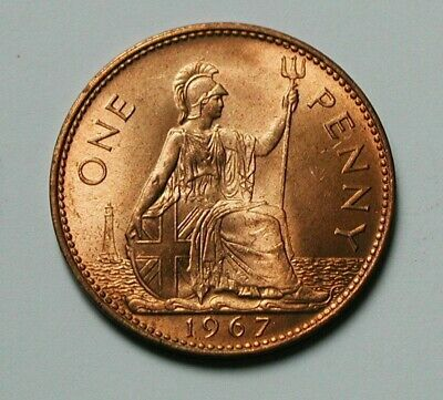 1967 UK (British) Coin - One Penny (1d) - AU+ toned-lustre