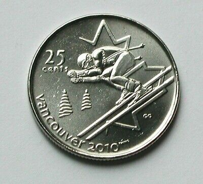 2007 CANADA Coin - 25 Cents - AU++ - Vancouver 2010 Olympics (downhill skiing)