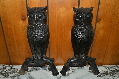 """PAIR OF (2) Vintage 14"""" CAST IRON OWL FIREPLACE ANDIRONS (United Mfrs. Ltd.)"""