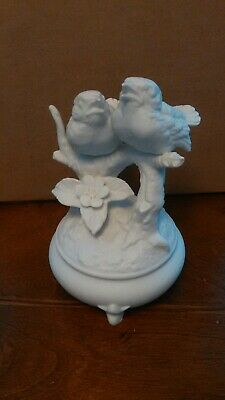 Vintage Footed Porcelain Bisque Birds On Branch Figurine White Bird Decor 6""