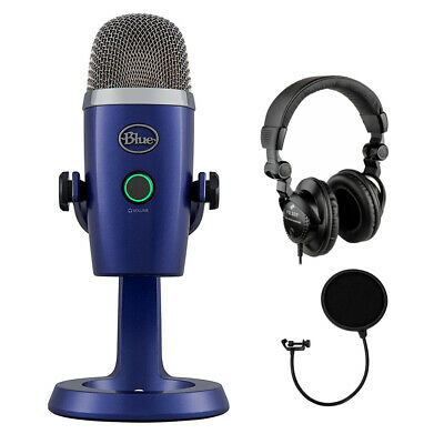 Blue Yeti Nano Premium USB Microphone (Vivid Blue) w/ Headphone & Pop Filter