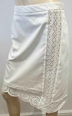 STELLA MCCARTNEY White Cotton Stretch Embroidered A Line Pencil Skirt 42 UK12
