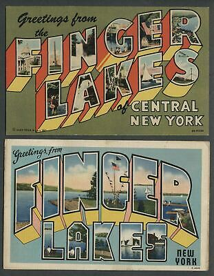 Two c.1940s Linen Postcards GREETINGS FROM THE FINGER LAKES OF CENTRAL NEW YORK