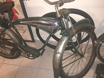 Rare Vintage 1951 Schwinn Green Phantom Tank Bicycle All Original Complete