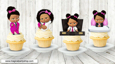 African American Boss Baby Girl Cupcake Toppers 7 99