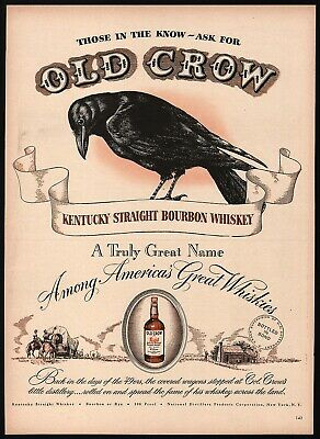 Vintage magazine ad OLD CROW KENTUCKY BOURBON WHISKEY 1948 covered wagon picture