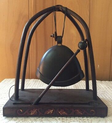 Vintage Pier 1 Hand-crafted Bamboo, Wood and Brass Bell Gong.