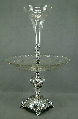 Mid 19th Century Bohemian Cut Crystal & Silverplate Epergne Dolphin Heads Base