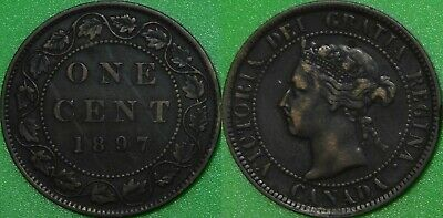 1897 Canada Large 1 Cent Graded as Fine