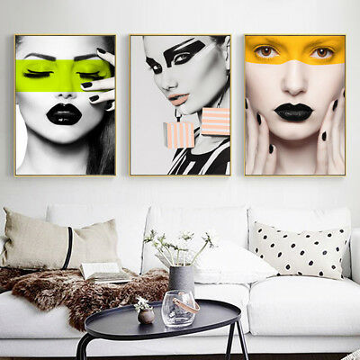 Am_ HK- Nordic Living Room Decor Artistic Woman Canvas Painting Poster Wall Art