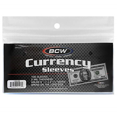 2-MIL Thickness Currency Clear Sleeves Regular Bills Archival Quality Crystal