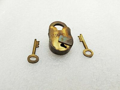1950S Vintage Tehri Chabi 4 Lever Unused Brass Padlock With 2 Original Keys