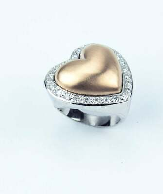 Exquisite Heart Design With Round Cut CZ Halo Border Stunning Promise Women Ring