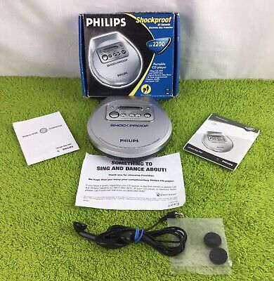 Philips Shockproof Portable Silver CD Player AX2200 Lovely Condition