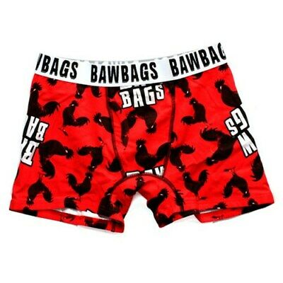 Bawbags Mens Bawbags Cock Black/Red Boxer Shorts Boxer Trunks Red W28-W30inch-S