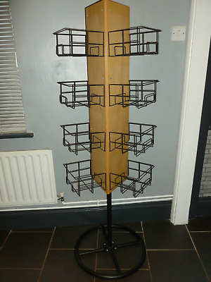 Triangular Beech Revolving Retail Display Unit. Greetings Cards, Pictures Etc