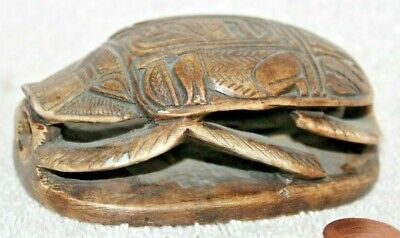 Antique Scarab Egyptian Hieroglyphics Amulet Beetle Collection Carved Stone