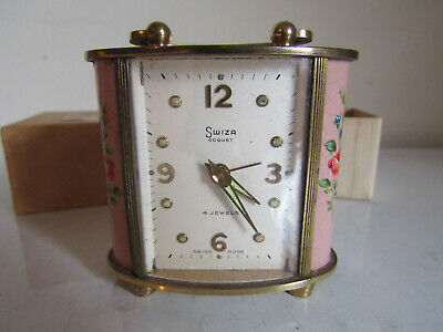 Vintage Swiza Coquet 4 Jewel Hand Painted Small Clock Boxed For Spares Repairs