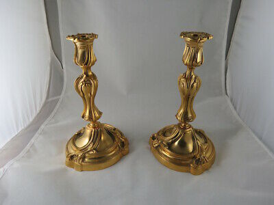 VERY FINE PAIR OF FRENCH  Louis XV STYLE GILT BRONZE CANDLESTICKS, CIRCA 1890