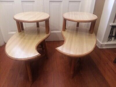Mid Century Natural Rattan Teardrop End Side Tables