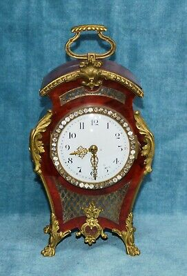 Antique Victorian French Boulle Gilt Ormolu Mantle Clock Working