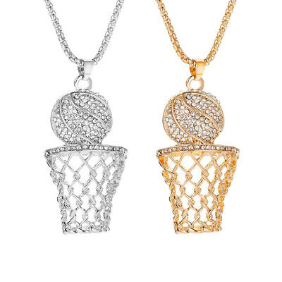 Fashion Iced Out Gold Silver Plated Basketball Pendant Necklace Chain Jewelry US