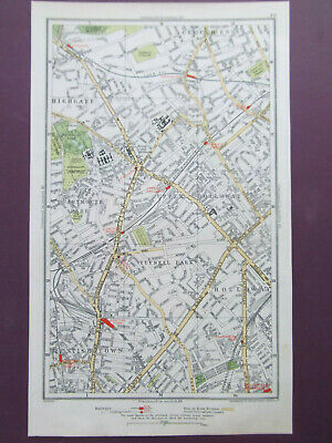 London Kentish Town Holloway Highgate Crouch End Old Street Map Dated 1933