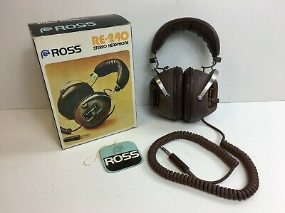 Vintage Brown ROSS RE-240 Stereo Headphones With Original Box