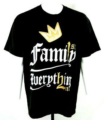 Family First Everything Second Crown Graphic Black T Shirt Shaka Mens XL