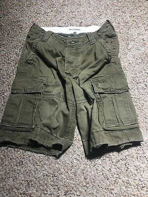 Boys Abercrombie Kids Cargo Shorts Size 12 Olive Green Distressed Military Army