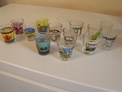 Lot Of 14 Souvenir Shot Glasses Several Different Designs Guc