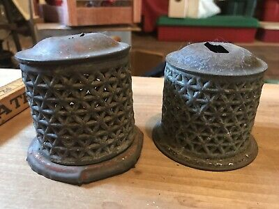 pretty Vintage Tin Metal savings Bank Lattice work sides Decorative can bottom