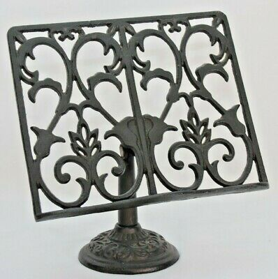 Cast Iron Scroll Display Stand Easel Victorian Music Holder Black Heavy Duty