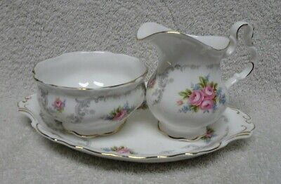 Royal Albert Tranquility Creamer, Open Sugar Bowl And Underplate