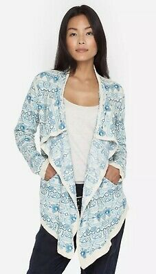 💕Johnny Was BIYA Embroidered ASYMMETRICAL Wrap Hoodie Cardigan Duster L $425 💕