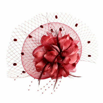 Women Fascinator Hat Feather Floral Hair Clip Cocktail Tea Party Head WINE RED