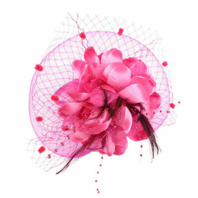 Women Fascinator Hat Feather Floral Hair Clip Cocktail Tea Party Head PINK