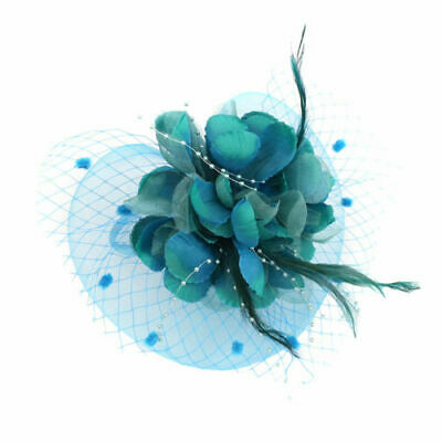 Women Fascinator Hat Feather Floral Cocktail Tea Party Head Turquoise Blue
