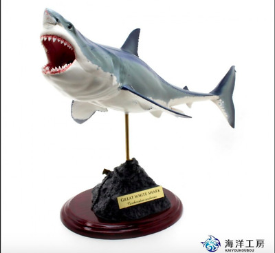 Kaiyoukoubou Great White Shark Figure 2 Handmade Fish carving F/S From Japan