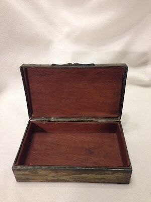 Antique Rare Brass Humidor Box/Dragon Flaming Pearl Etched/Chinese/Asian