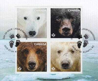 BEARS = POLAR Bear at UL = Block of 4 OFDC / FDC = Grizzly = Black = Canada 2019