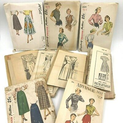 Vintage 1940s 1950s Lot 9 Sewing Patterns Anne Adams Simplicity Barbara Bell PT