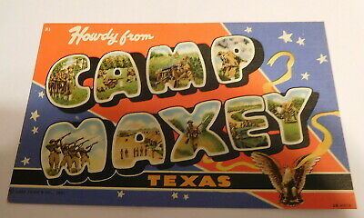 vintage Howdy From Camp Maxey Texas Postcard WW2 ERA military
